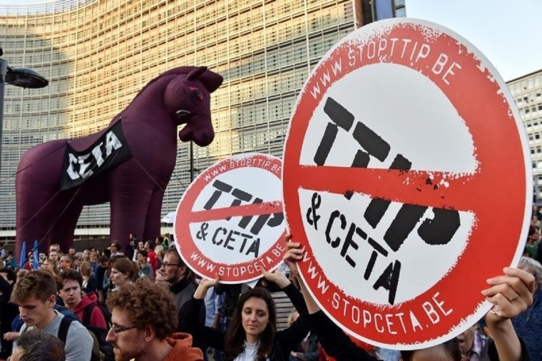 Thousand of people demonstrate against TTIP and CETA in the centre of Brussels