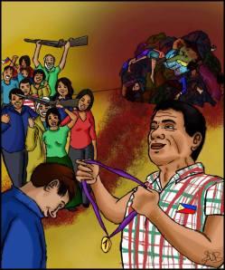 Il nuovo autoritario presidente delle Filippine.